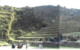 How was the fortress of Ollantaytambo built without draft animals or the concept of the wheel?